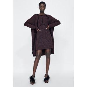 Zara Knitwear Collection Metallic Thread Cardigan